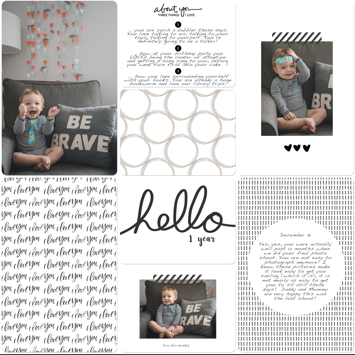 Digital Scrapbook Page 12 Month Photo Shoot for Baby Book