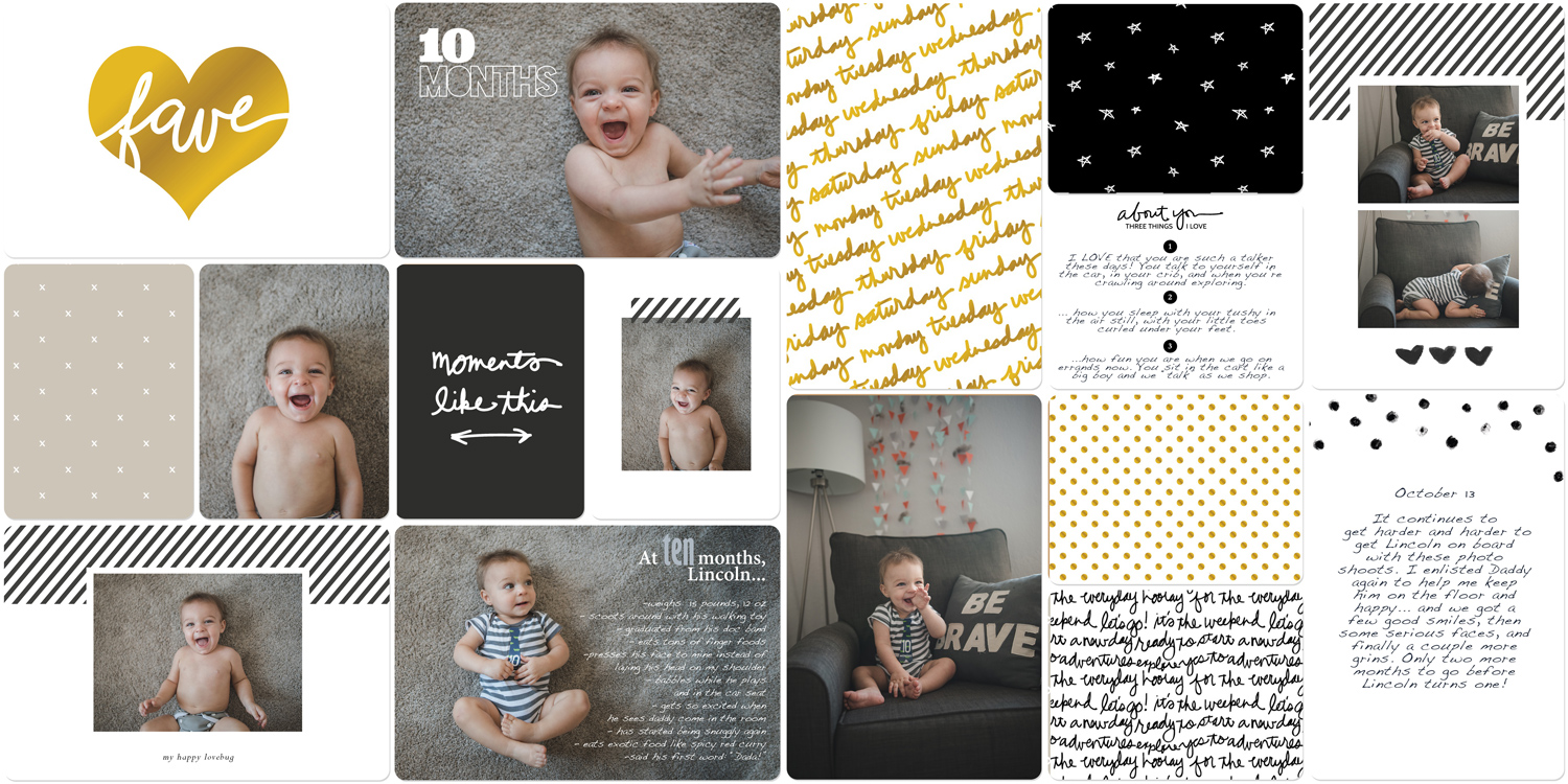 Digital baby book scrapbook page using Liz Tamanaha Project Life products #digitalscrapbooking #projectlife #paisleepress #liztamanaha