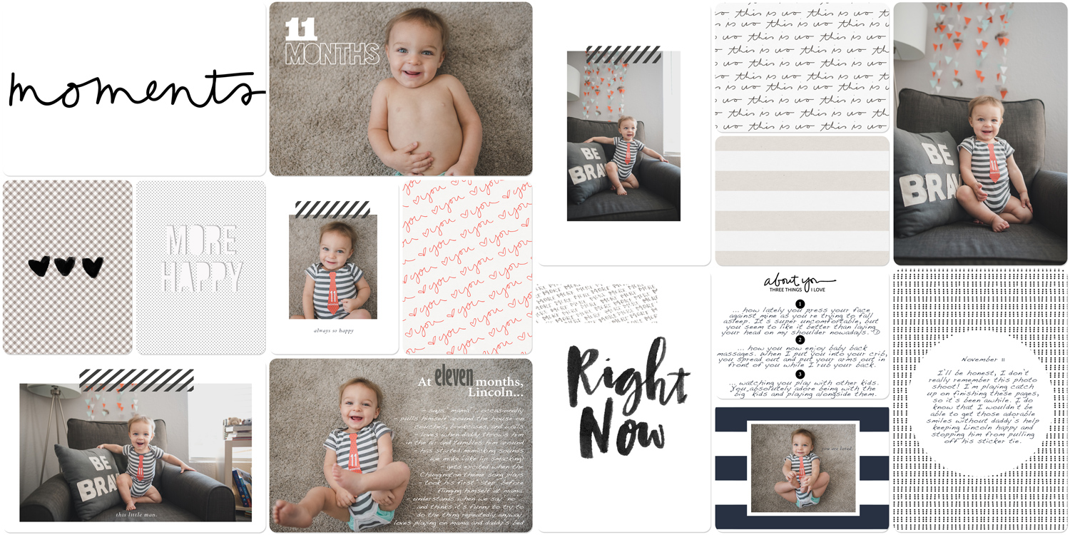 Baby book in digital scrapbook form