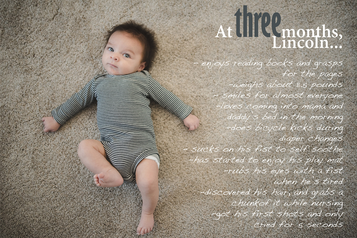 Baby Book image with text overlay, 3 month baby