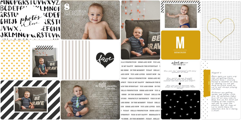 Baby book digital scrapbook 8 months old