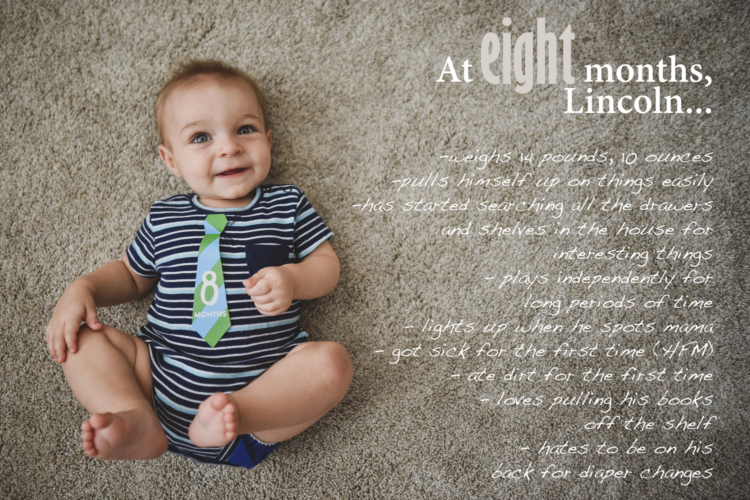 Baby Book image with text overlay, 8 month baby