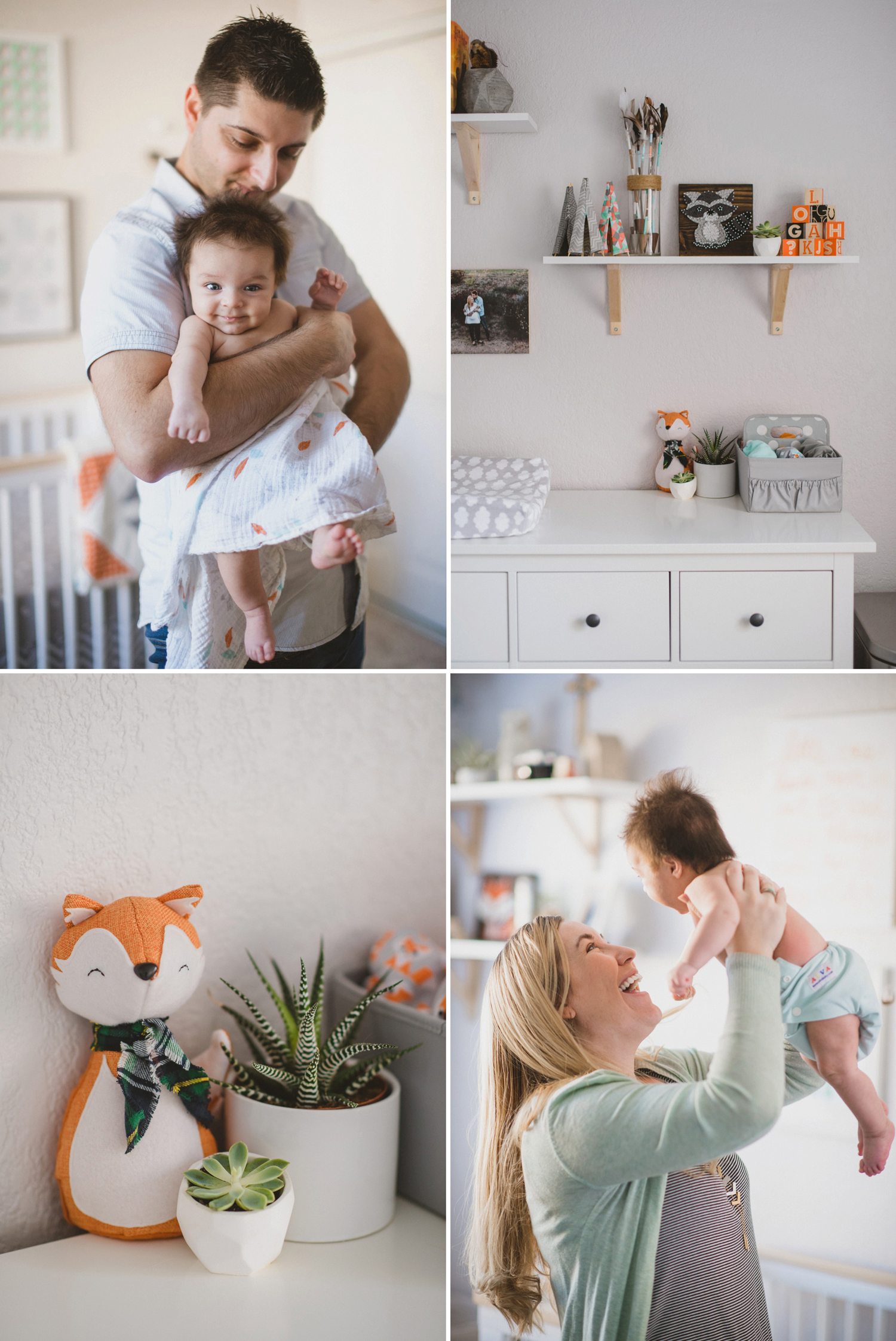 Mother and father with baby in woodland and adventure themed nursery