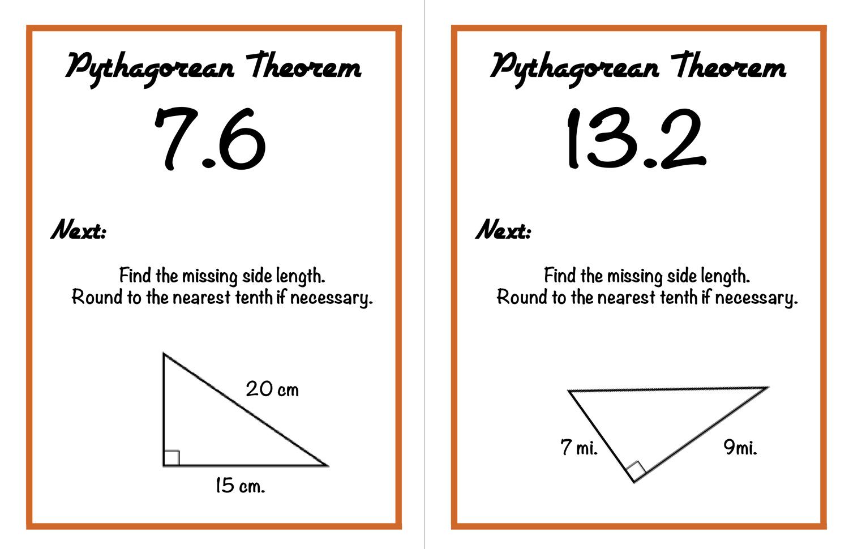 Walk around activity for Pythagorean theorem review from craftyteachermama