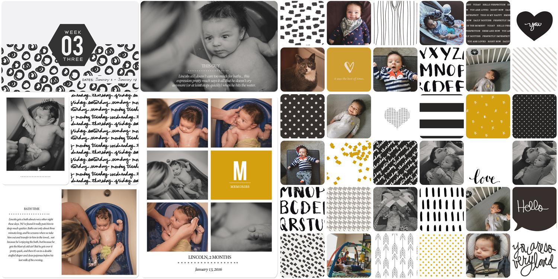 Project Life scrapbook page using Liz Tamanaha's Midnight kit.