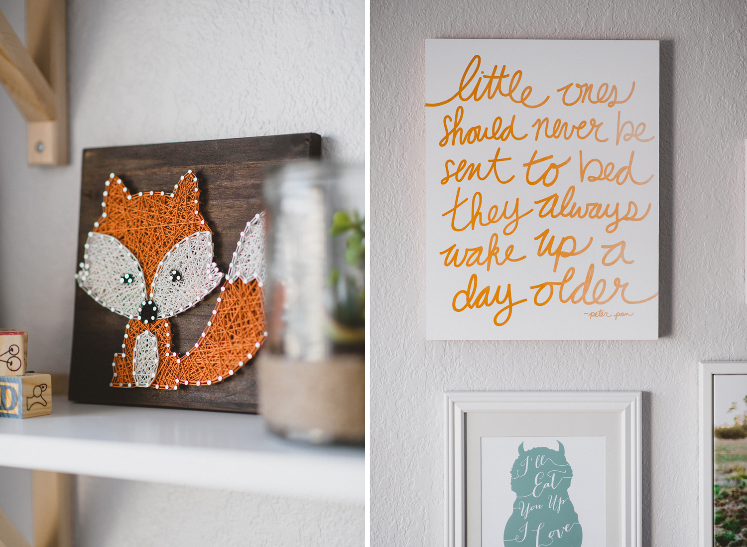 Wall decor in baby's adventure themed nursery