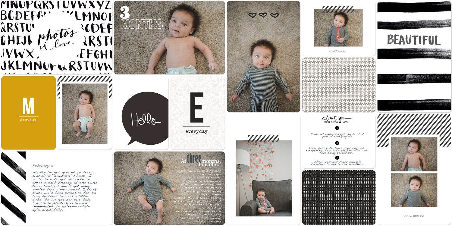 Digital scrapbook page using Project Life kits from Liz Tamanaha