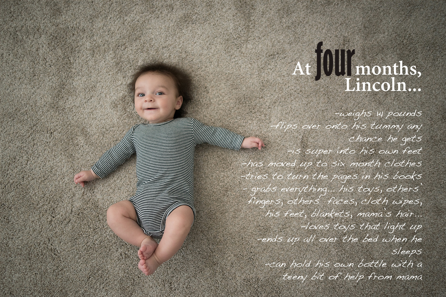 Baby Book image with text overlay, 4 month baby