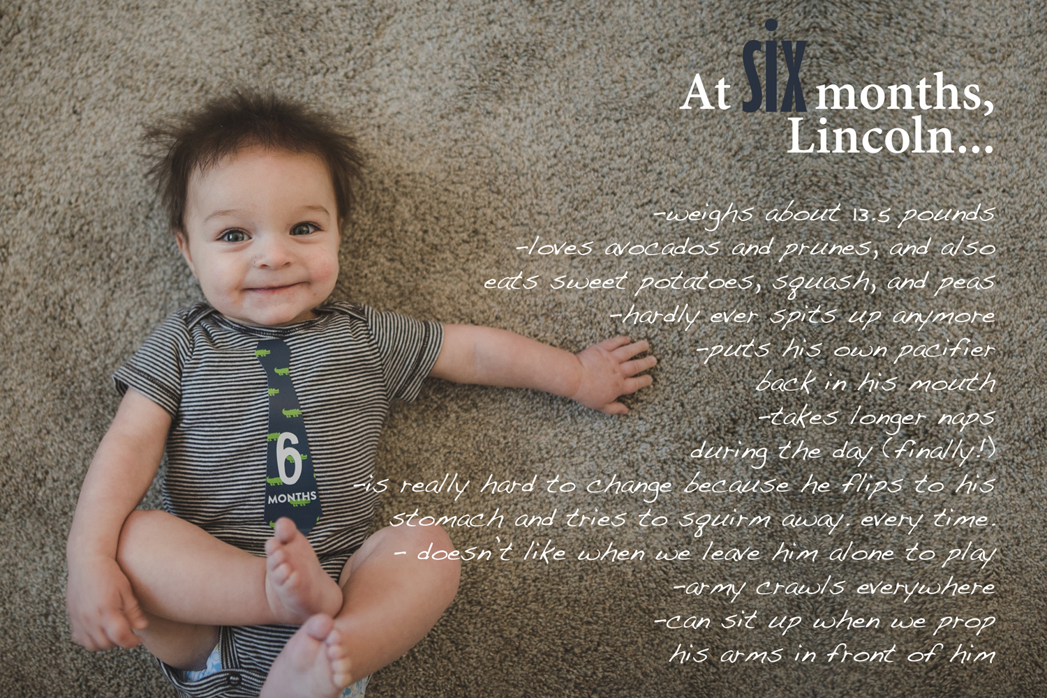 Baby Book image with text overlay, 6 month baby