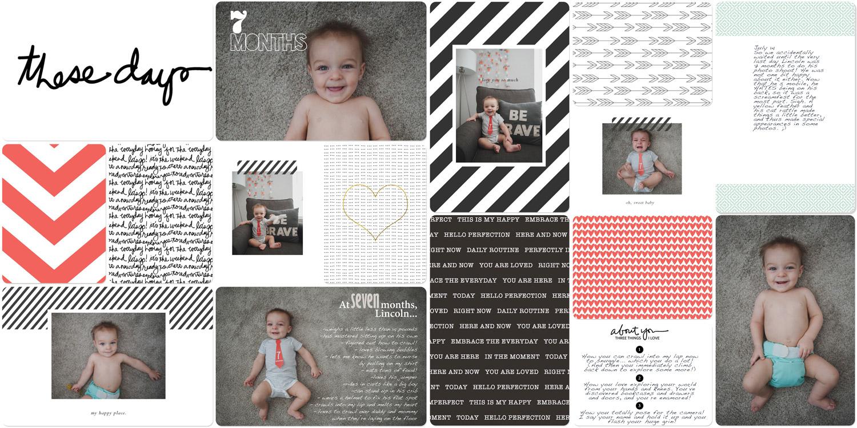 Baby book digital scrapbook 7 months old