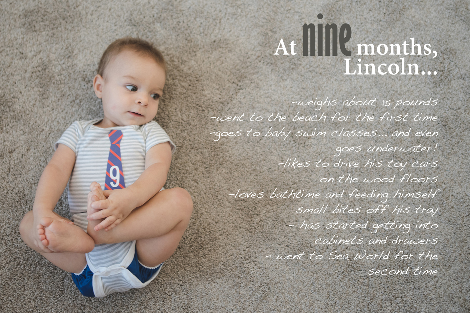 Baby Book image with text overlay, 9 month baby