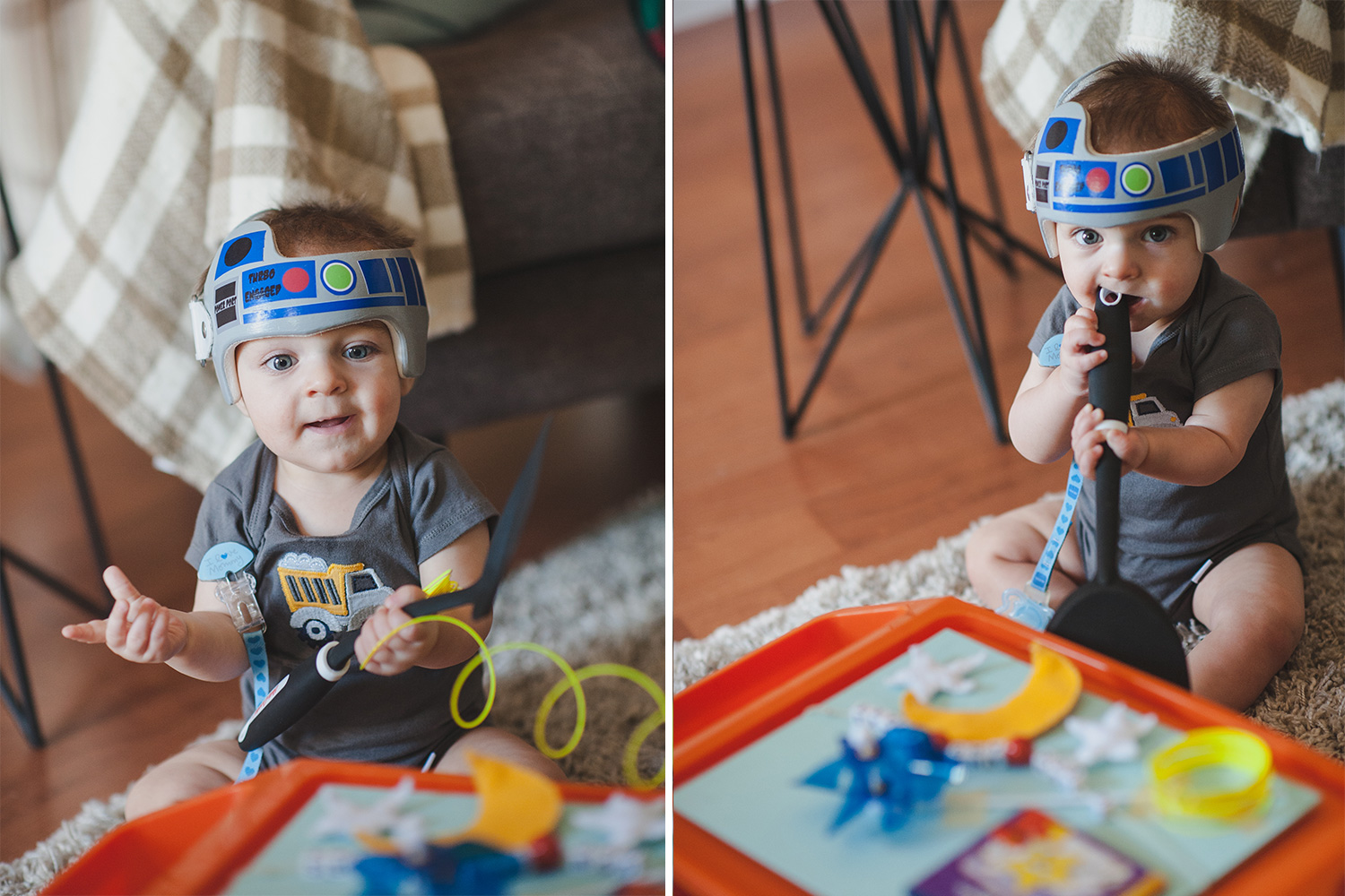 Baby with R2D2 decorated cranial helmet playing with sensory toys