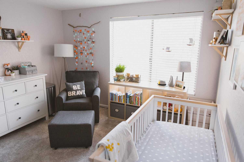 Baby nursery with woodland theme