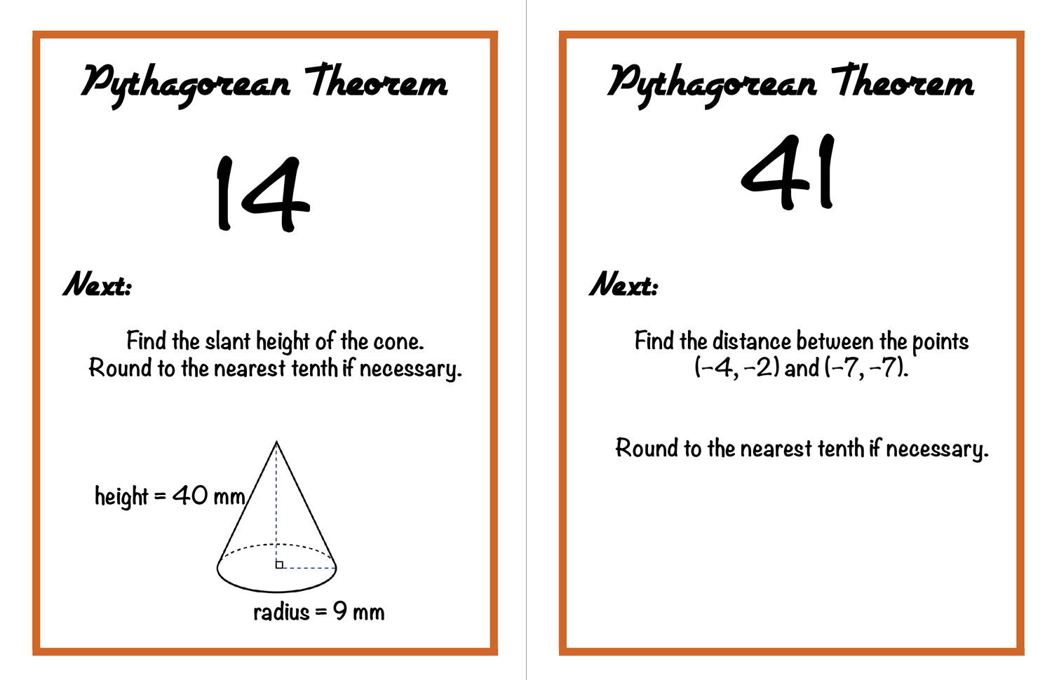 Walk around activity for Pythagorean theorem review from craftyteachermama