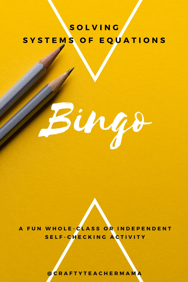 Solving systems of equations Bingo activity for math classes